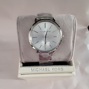 MICHAEL KORS MK3499 JARYN SILVER WATCH NWT